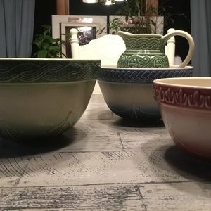 Longaberger Discontinued Mixing bowls and Pitcher